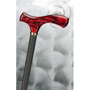 Höhenverstellbarer Gehstock mit rotem Fritzgriff  aus Acryl